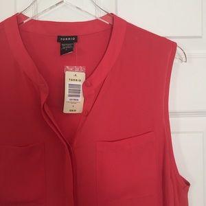 torrid Tops - torrid | sheer coral sleeveless pocket top NWT